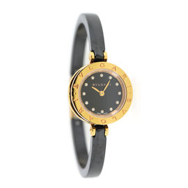 Bulgari B.Zero1 102087 18K Rose Gold/Ceramic Black Diamond Dial Quartz 23mm Womens Watch