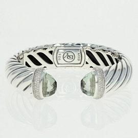 David Yurman 925 Sterling Silver 0.60ct Prasiolite Waverly Cuff Bracelet