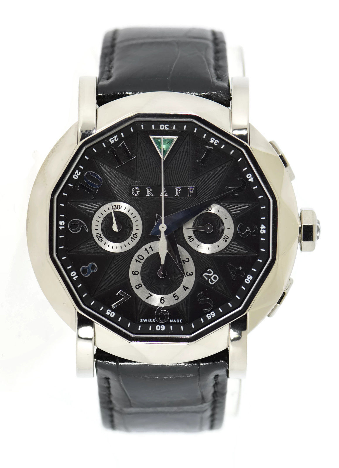 "Image of ""Graff ChronoGraff Cg45Dlcwg 18K White Gold & Leather Automatic 45mm"""
