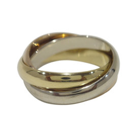Cartier 18K Yellow, White and Rose Gold Trinity Ring Size 6.25
