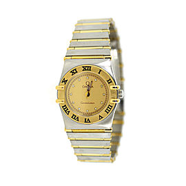 Omega Constellation Two Tone Stainless Steel Yellow Diamond Dial Quartz 23.5mm Womens Watch