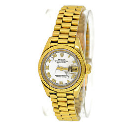 Rolex President 69178 18K Yellow Gold Rare Marble Dial 26mm Womens Watch
