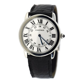 Cartier Ronde Solo W6700255 Stainless Steel & Leather Quartz 36mm Unisex Watch