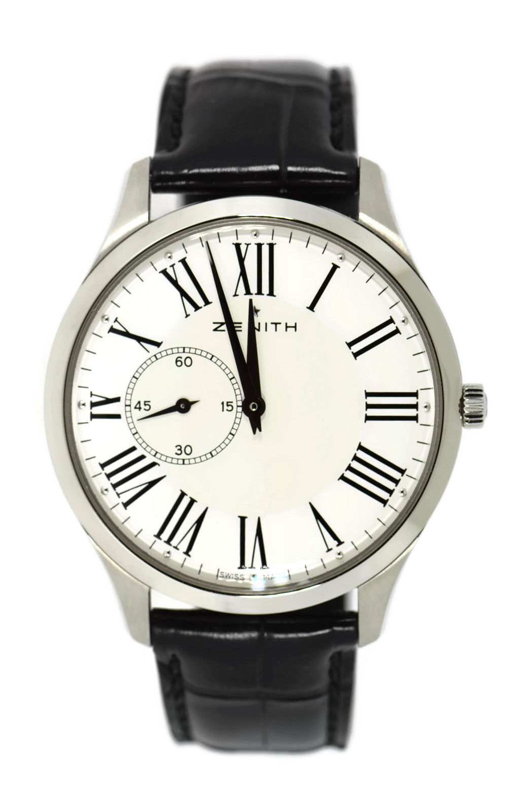 "Image of ""Zenith Elite 03.2010.681 Stainless Steel & Leather White Dial"""