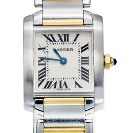 Cartier Tank Francaise Stainless Steel/18K Yellow Gold White Dial Quartz 20mm Womens Watch