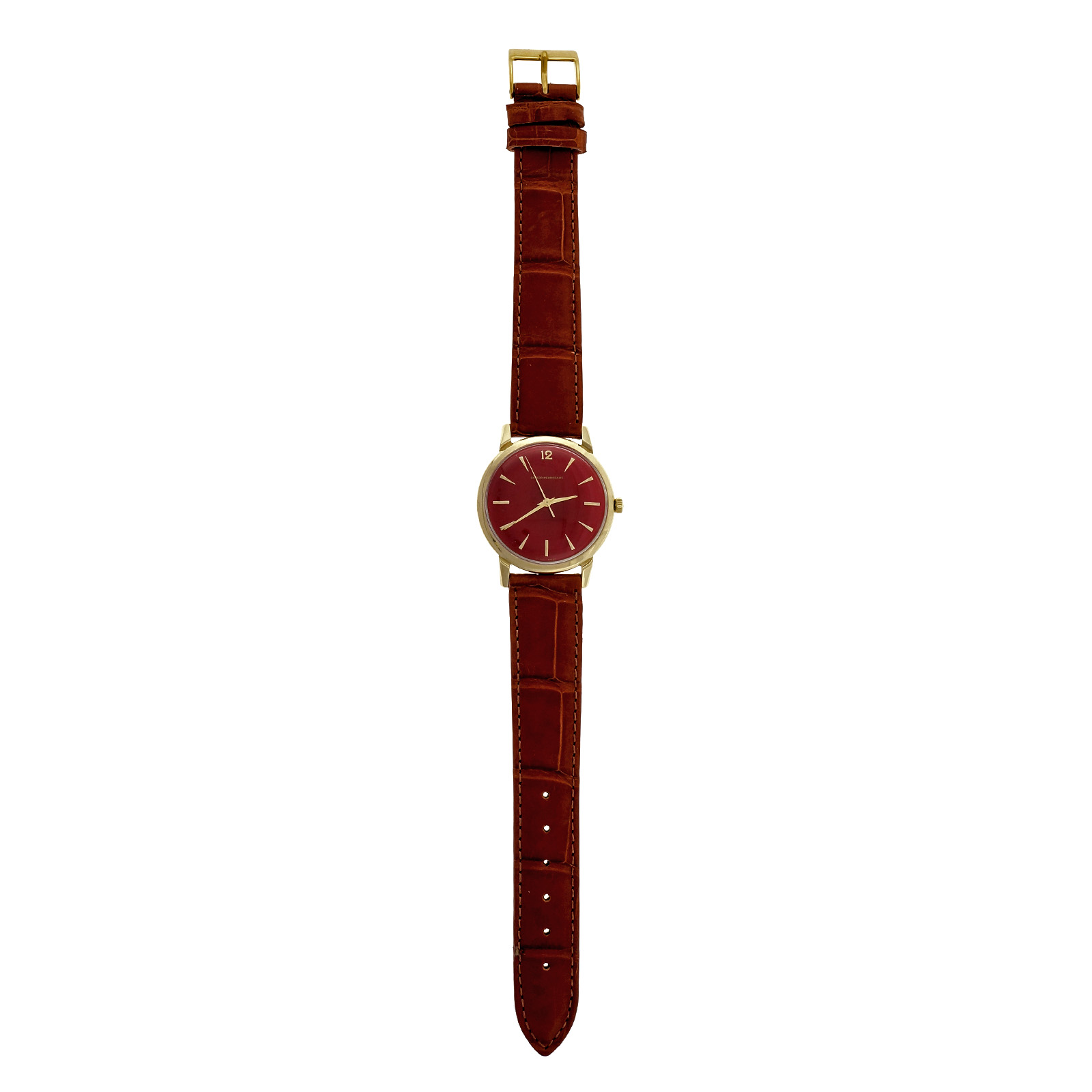 "Image of ""Girard Perregaux 14K Yellow Gold Automatic Red Dial 35mm Unisex Wrist"""