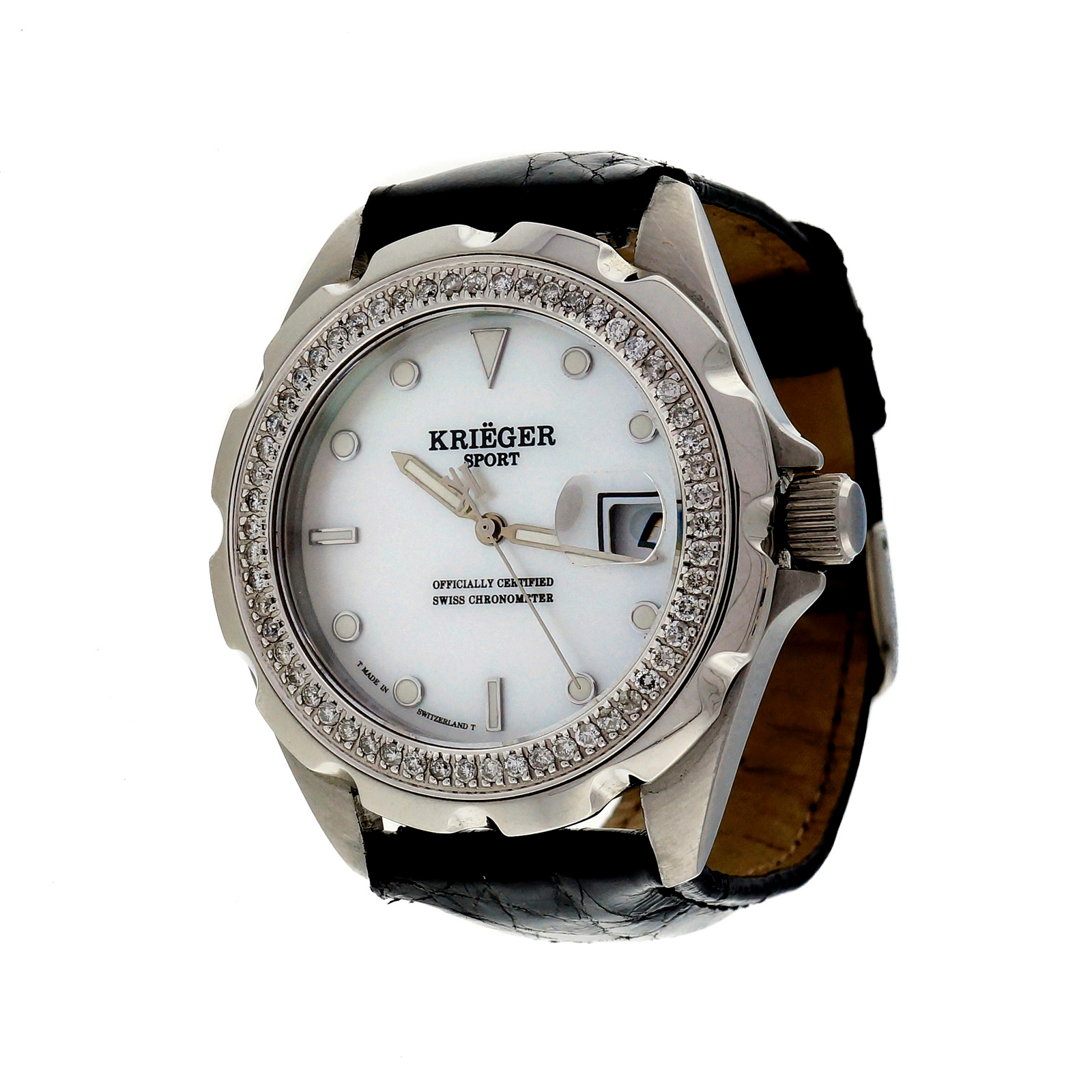 "Image of ""Krieger Sport Stainless Steel Mother Of Pearl Dial Diamond Bezel"""