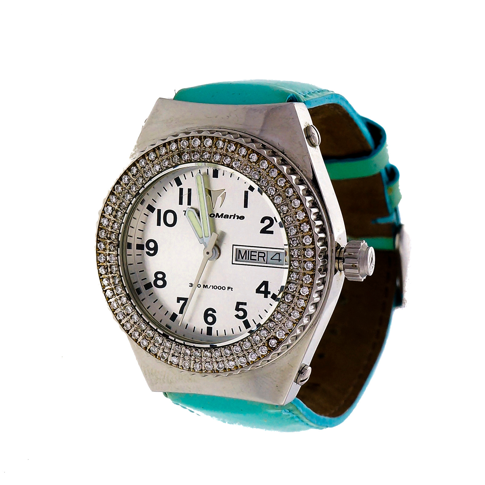 "Image of ""Technomarine Day Date Stainless Steel Diamond Quartz Turquoise Band"""