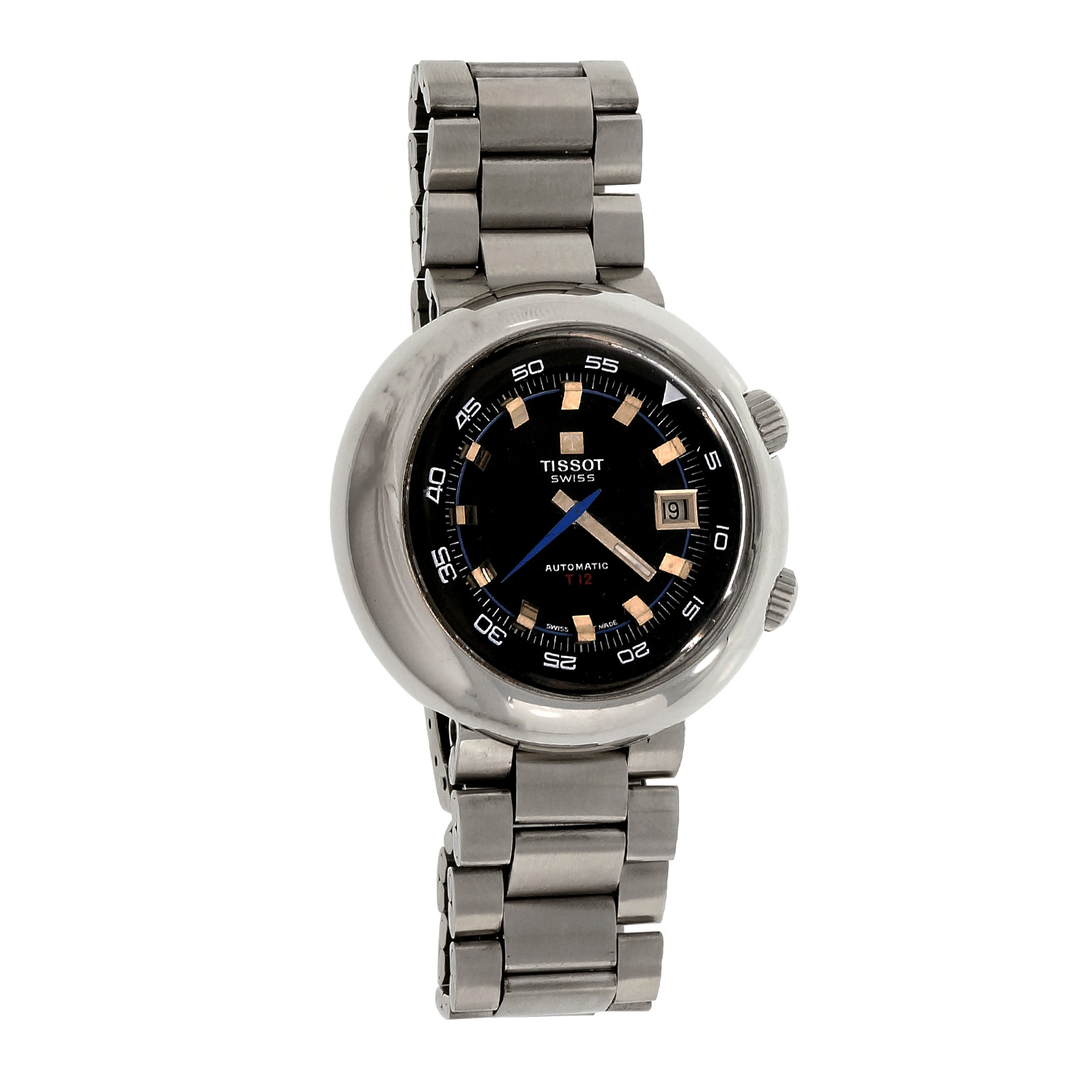 """Image of """"Tissot T12 44594 Stainless Steel Black Dial Automatic 44mm Mens Watch"""""""