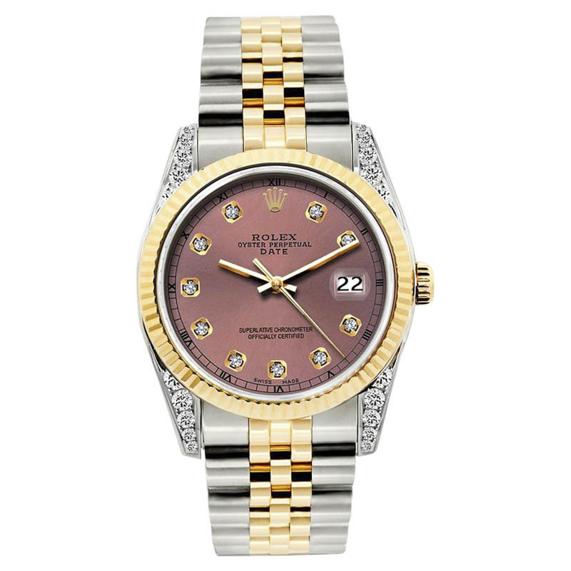 "Image of ""Rolex Date Stainless Steel & 18K Yellow Gold Diamond 34mm Watch"""