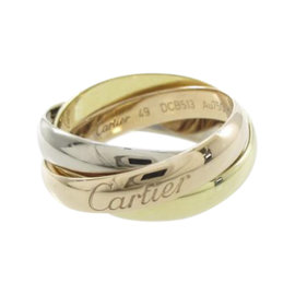 Cartier 18K Yellow, White and Rose Gold Trinity Ring Size 4.75