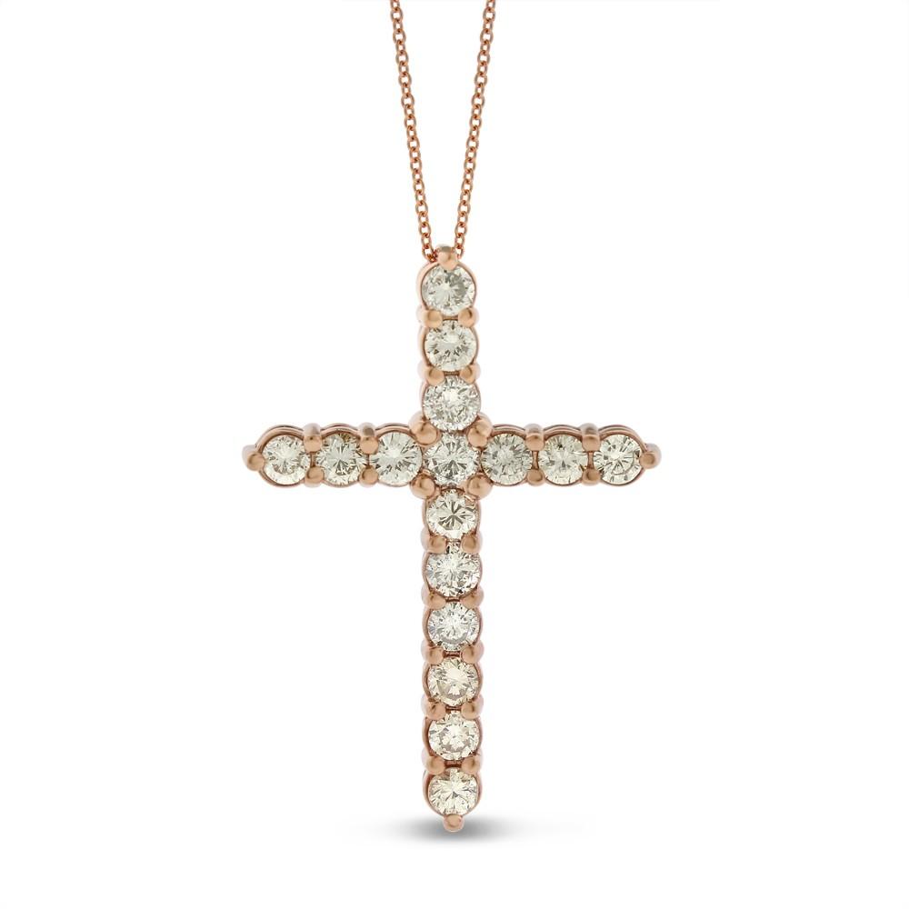 "Image of ""14k Rose Gold 1.99 Ct. Natural Large Diamond Cross Pendant"""