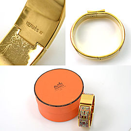 Hermes Gold Tone Metal Bangle Bracelet