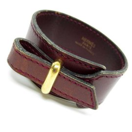 Hermes Metal Brown Leather Bracelet