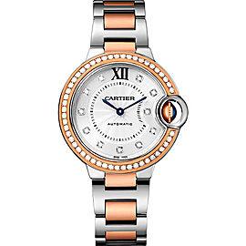 Cartier Ballon Bleu WE902077 Stainless Steel & 18K Rose Gold with Silver Diamond Dial 33mm Womens Watch
