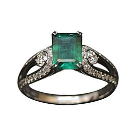 1.15ct Emerald & 0.32ct Diamond Engagement Ring Sz 6.75
