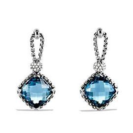 David Yurman Cushion on Point with Blue Topaz and Diamond Earrings