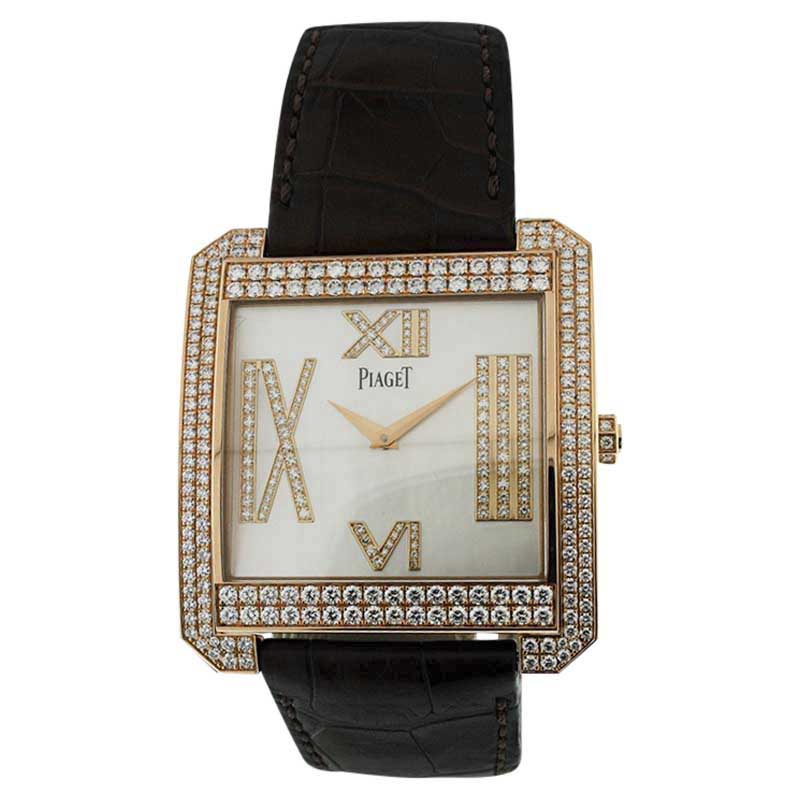 """Image of """"Piaget Protocole XXL Diamond 18K Rose Gold Mother Of Pearl Watch"""""""