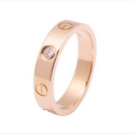 Cartier Mini Love 18K Pink Gold 1P Diamond Ring Size 5.25