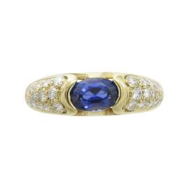 Bulgari 18K Yellow Gold Sapphire Ring Size 5.5