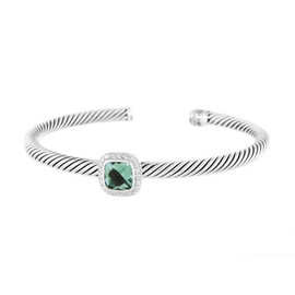David Yurman Sterling Silver Prasiolite and Diamonds Albion Bracelet