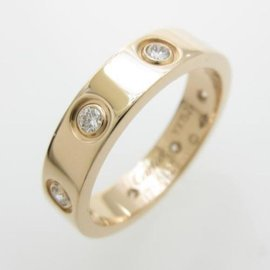 Cartier 750 Rose Gold Full Diamond Mini Love Ring Size 4.0
