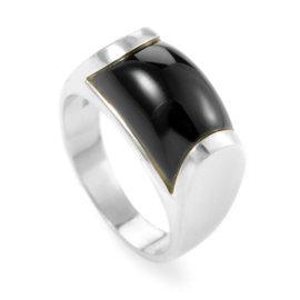 Bulgari 18K White Gold Onyx Tronchetto Ring Size 4.25