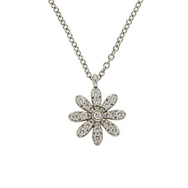 Tiffany & Co. 18K White Gold and Diamond Flower Pendant Necklace