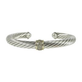 David Yurman Sterling Silver & 18K Yellow Gold 0.21tcw Diamond Station Cable Bracelet