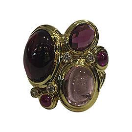David Yurman 18K Yellow Gold with Rhodolite Garnet Pink Tourmaline Diamond and Ruby Ring Size 7.25
