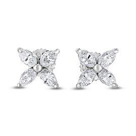 14K White Gold 1.02ct Diamond Marquise Flower Studs Earrings