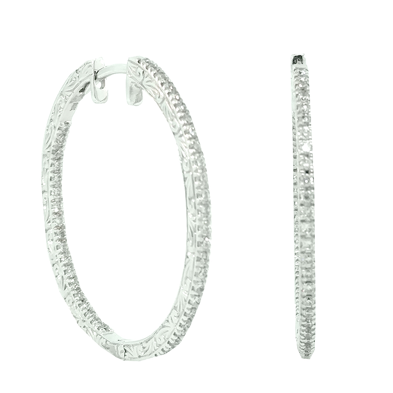 """Image of """"Penny Preville 18K White Gold & Diamond Hoop Earrings"""""""