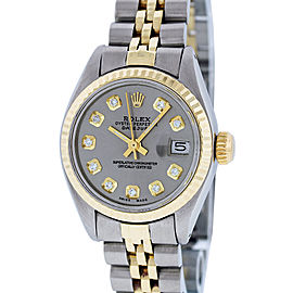 Rolex Datejust Watch Stainless Steel and 18K Yellow Gold Slate Gray Diamond Dial 26mm Women's Watch