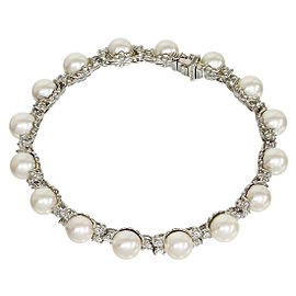 Tiffany & Co. 950 Platinum Akoya Pearls & Diamond Bracelet