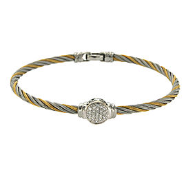 Philippe Charriol 18K Yellow Gold & Stainless Steel 0.22ct Diamonds Cable Bracelet