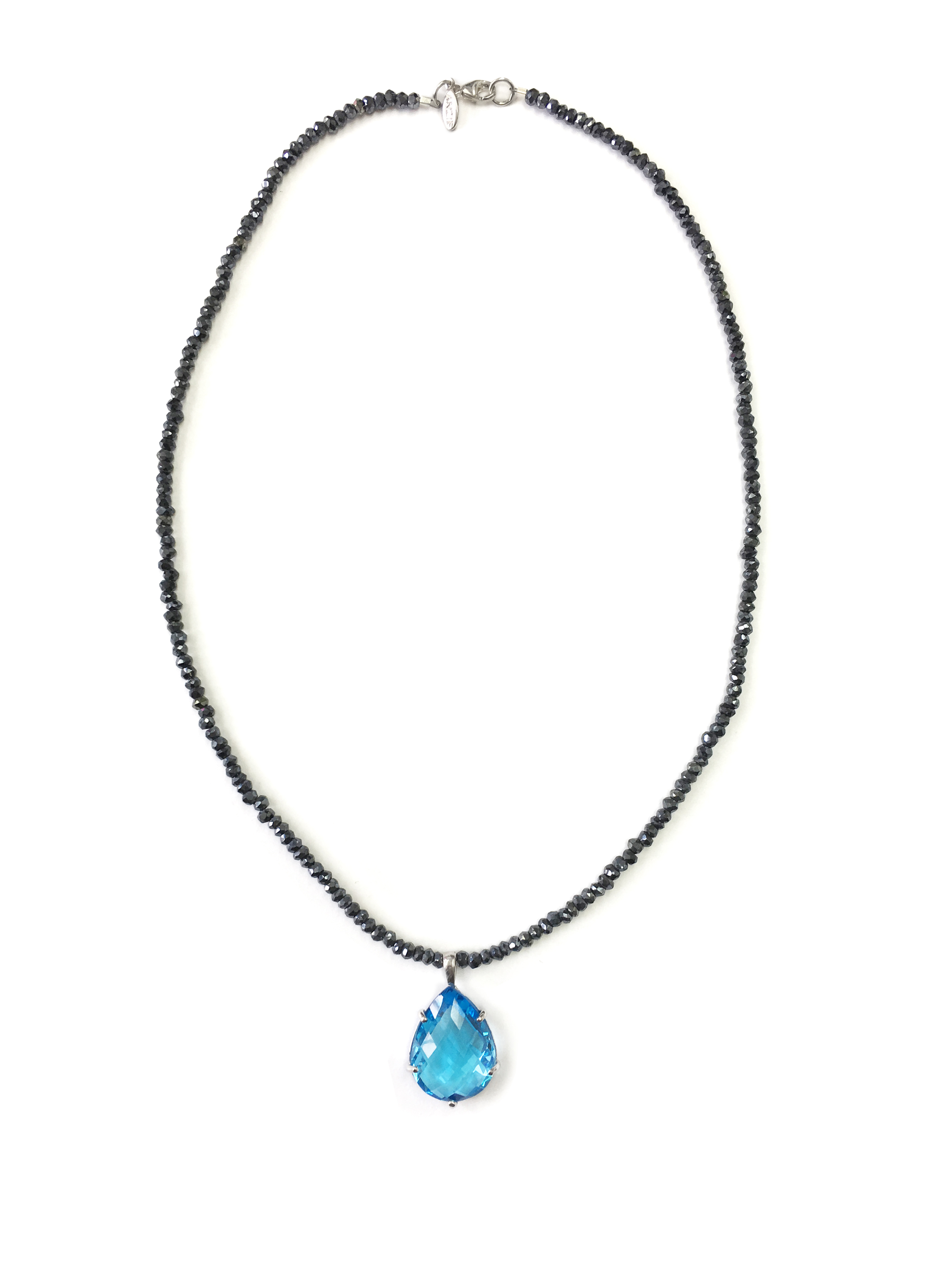 "Image of ""Anzie Sterling Silver Blue Topaz, Black Spinel Necklace"""