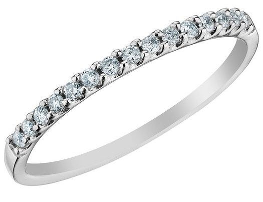 "Image of ""14K White Gold 0.15ct. Diamond Pave Wedding Engagement Band Ring Size"""