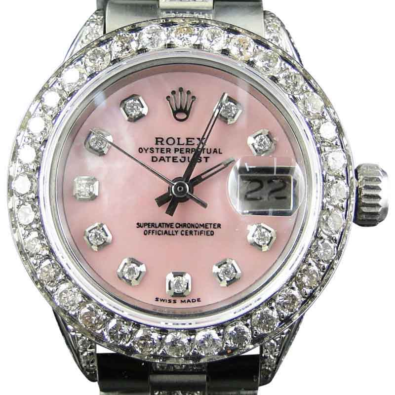 """Image of """"Rolex Datejust Oyster Stainless Steel 8 Ct Diamond Pink MOP Dial Watch"""""""