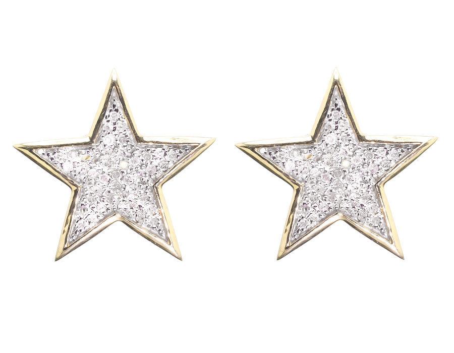 "Image of ""10K Yellow Gold Round 0.40ct Diamond Star Stud Earrings"""