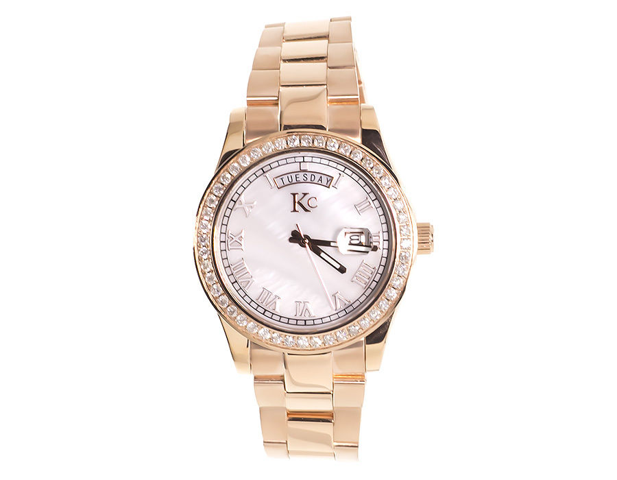 "Image of ""Techno Com KC Day Date Diamond 1.9ct Rose Stainless Steel Watch 41mm"""
