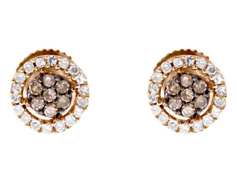 """Image of """"10k Rose Gold Brown White Diamond 7mm Flower Cluster Studs Earrings"""""""