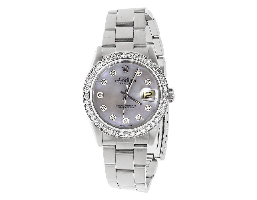"Image of ""Rolex 36 mm Datejust Oyster Quickset Stainless Steel 3.0 Ct Diamond"""