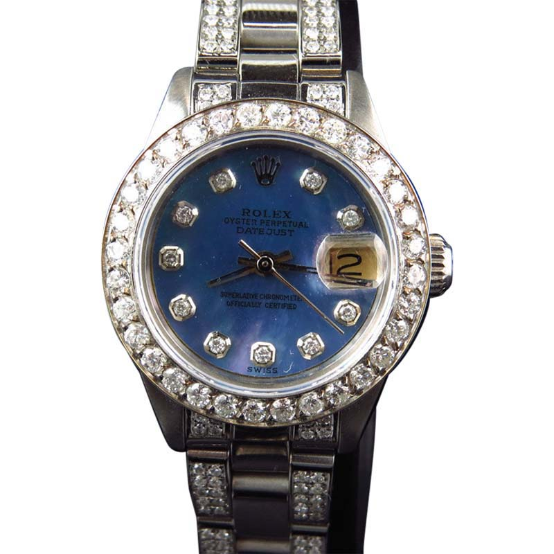 "Image of ""Rolex Ladies Stainless Steel Datejust Jubilee 6 Ct Diamond Blue MOP"""
