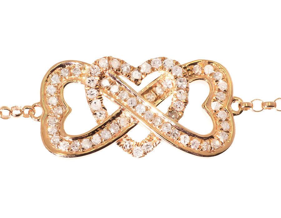 "Image of ""10K Rose Gold Ladies Round Pave Diamond Interlocking Heart Chain"""
