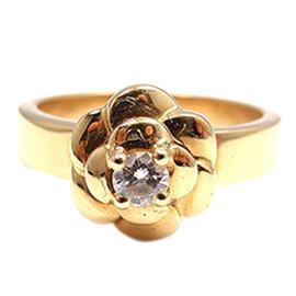 Chanel 18K Yellow Gold Diamond Camelia Camellia Ring