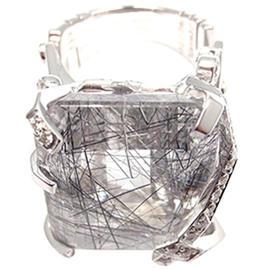 Chanel 18k White Gold Large Rutilated Quartz Diamond Ring