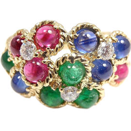 Christian Dior 18K Gold Flower Diamond Emerald Ruby Sapphire Ring