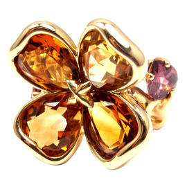 Chanel Camelia Camellia Flower 18k Yellow Gold Citrine Amethyst Ring
