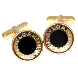 Bulgari 18K Yellow Gold Black Onyx Cufflinks