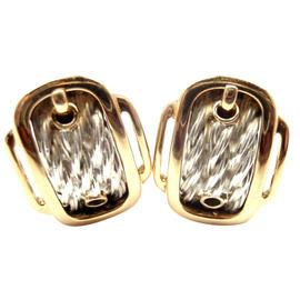 Hermes 18K Yellow Gold & Sterling Silver Buckle Earrings